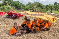 Traditionell drakekonkurrens på den Sanur stranden i Bali, Indonesien Royaltyfri Bild