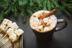 Traditionell drink för jul Varm choklad med marshmallower och kanel på svarten med julträdfilialen Royaltyfri Fotografi