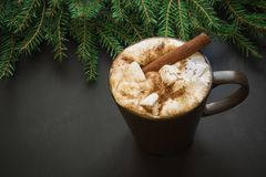 Traditionell drink för jul Varm choklad med marshmallower och kanel på svarten med julträdfilialen Arkivbild