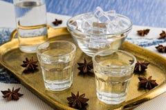 Traditionell drink Ouzo eller Raki royaltyfri bild