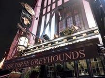 Traditionell engelsk bar de tre vinthundarna i det London SOHO-området London UK arkivfoton