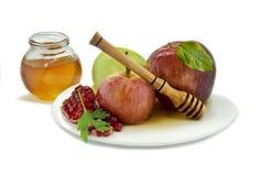 Traditionell festlig mat för Rosh Hashanah, på vit Royaltyfri Bild