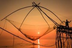 Traditionell fisk som fångar i Thailand Arkivfoton
