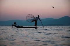 Traditionell fiskare på Inle sjön i Myanmar royaltyfri fotografi