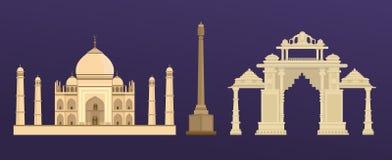 Traditionell forntida byggnad av Taj Mahal i Indien, indisk port i Delhi vektor illustrationer