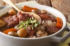 Traditionell fransk mat: Hane för Coq auvin med vin och grönsaken arkivfoton