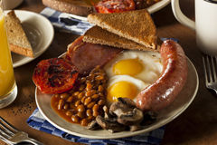 Traditionell full engelsk frukost Royaltyfria Foton