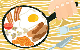 Traditionell full engelsk frukost i en panna Arkivbild