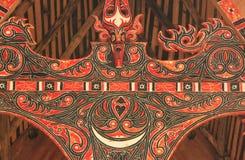Traditionell garnering av det Batak huset på den Samosir ön, Sumatra royaltyfria bilder