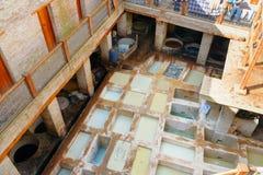 Traditionell garveri för läder i Fez, Marocko Royaltyfri Bild