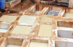 Traditionell garveri för läder i Fez, Marocko Royaltyfria Bilder