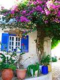 Traditionell gata med den ljusa bougainvillean i Grekland Arkivfoton
