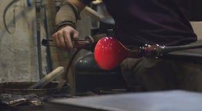 Traditionell glass produktion i Murano, Italien Royaltyfri Bild
