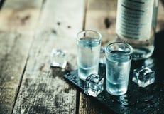 Traditionell grekisk vodka - ouzo i sköt exponeringsglas arkivbilder