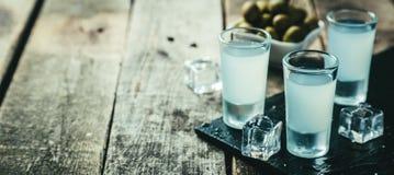 Traditionell grekisk vodka - ouzo i sköt exponeringsglas arkivbild