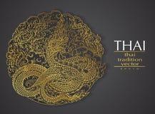Traditionell guld för thailändsk konstbeståndsdel för hälsningkort royaltyfri illustrationer