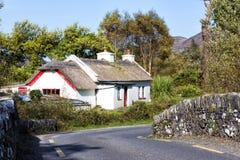 Traditionell halmtäckt stuga i Irland Arkivbilder