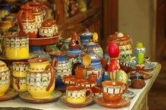 Traditionell handgjord krukmakeri från Bulgarien Arkivfoto