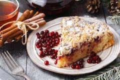 Traditionell hemlagad chokladjul bakar ihop strilat med sockerpulver, trädgarnering för nytt år med snö royaltyfri bild