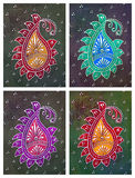 Traditionell indier Henna Style Floral Pattern Tiles stock illustrationer