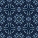 Traditionell indigoblå blå japansk sömlös vektormodell Snöra åt täcket royaltyfri illustrationer