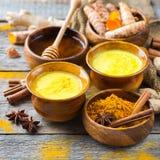 Traditionell indisk guld- drinkgurkmejacurcuma mjölkar med ingredienser royaltyfria foton