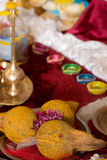 Traditionell indisk hinduisk klosterbroder som ber objekt Royaltyfri Bild