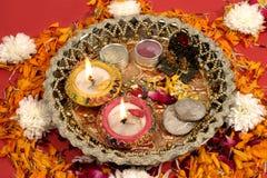 traditionell indisk puja för diwalifestival Royaltyfria Bilder