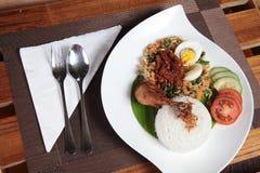 Traditionell indonesia mat som namnges nasiurap Royaltyfria Bilder