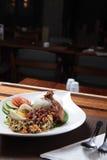 Traditionell indonesia mat som namnges nasiurap Arkivbilder