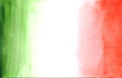 Traditionell italiensk flagga i vattenfärgstätta Arkivfoton