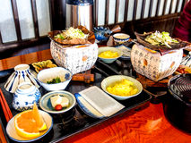Traditionell japansk frukostuppsättning Royaltyfria Foton