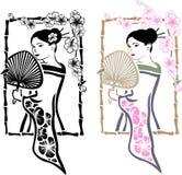 Traditionell japansk Geisha med fanen Arkivfoton