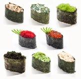 Traditionell japansk mat - uppsättning av sushi Royaltyfria Bilder