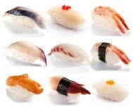 Traditionell japansk mat - uppsättning av sushi Royaltyfri Bild