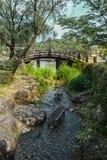 Traditionell japanträdgård med bron Fotografering för Bildbyråer
