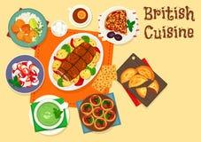 Traditionell kötträttsymbol för brittisk kokkonst royaltyfri illustrationer