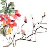 traditionell kinesisk målning stock illustrationer