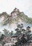 Traditionell kinesisk målning, landskap royaltyfri illustrationer
