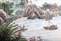 Traditionell kinesisk målning, landskap arkivfoto