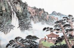 Traditionell kinesisk målning, landskap, träd arkivfoto