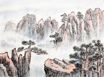 Traditionell kinesisk målning, landskap, träd arkivbilder