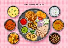 Traditionell kokkonst- och matmålthali av Madhya Pradesh royaltyfri illustrationer