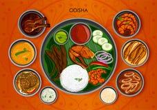 Traditionell kokkonst- och matmålthali av Odisha Indien vektor illustrationer