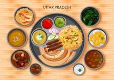 Traditionell kokkonst- och matmålthali av Uttar Pradesh stock illustrationer