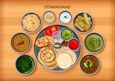 Traditionell kokkonst- och matmålthali av Uttarakhand vektor illustrationer