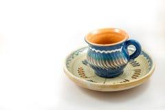 Traditionell kopp och platta arkivbild