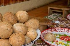 Traditionell kultur av kokosnöten mjölkar arkivfoton
