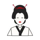 Traditionell kvinnaJapan dräkt royaltyfri illustrationer