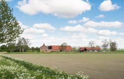 Traditionell lantgård i Nederländerna Arkivbild